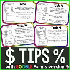 *Now also includes an editable GOOGLE Forms version.Students practice finding tips on meals at restaurants in this task cards activity. Each of the 10 task cards asks students to find: a meal's subtotal, a percentage tip on the meal, the meal's total with tip, the amount each friend will need to pay... Google Math, Consumer Math, Math About Me, 7th Grade Math, Math Fractions, Financial Literacy, Interactive Notebooks, Teaching Math, Task Cards