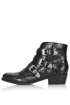 BILLY Croc Buckle Boots - View All - Shoes - Topshop