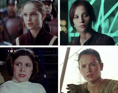 Padmé, Jyn, Leia, and Rey: strong women have been a part of Star Wars since the start. Anybody who says Rey ruined Star Wars or that it's not possible for her to know how to fly a ship, seem to forget A.) Leia, a Princess, knew how to fire a blaster without training and do it well as well as B.) Padme, a Queen, could hold her own in a fight against monsters while chained to a pillar.