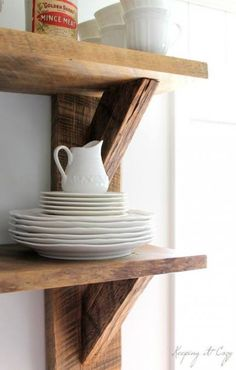 Reclaimed wood cafe style kitchen shelves, knives, and Wood Cafe, Reclaimed Wood Kitchen, Reclaimed Wood Shelves, Rustic Kitchen, Kitchen White, White Kitchens, Repurposed Wood, Salvaged Wood, Wooden Kitchen