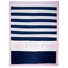 Create the nursery of your dreams with the Nautica Kids Mix & Match Crib Bedding Collection. Keep your little sailor girl comfy and cozy with the Striped Whale Comforter. It features pink whale appliques and grey anchors.