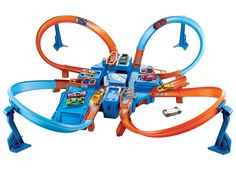 The Hot Wheels Criss Cross Crash track set has four intersecting crash zones and a car feeder ramp for amped up action. Kids can line up their Hot Wheels cars and let 'em rip for near misses or total wipeouts. With more than 16 feet of track that includes Criss Cross, Gifts For Boys, Toys For Boys, Kids Toys, Toddler Toys, Voitures Hot Wheels, Hot Wheel Autos, Mattel Shop, 6 Year Old Boy