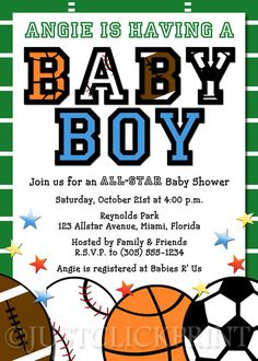 All-Star Baby Shower Theme | All Star Sports Baby Boy Shower Invitation Printable · Just Click ...