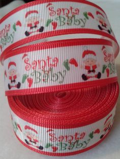 Santa Baby Grosgrain Ribbon by ILoveYouMoreCreation on Etsy