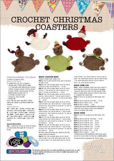 free pattern Christmas coasters - (click picture or button to download pdf file)