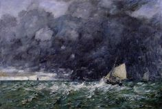 Rough Seas, Oil by Eugène Louis Boudin (1824-1898, France)