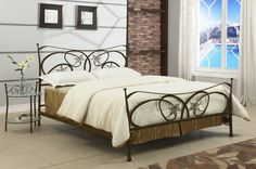 Chintaly Traditional Dark Brown Metal Queen Bed