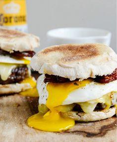 Bacon Breakfast Cheeseburgers With Maple Aioli recipe via How Sweet Eats