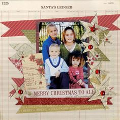 #scrapbook #christmas #layouts | Layout: Merry Christmas to All | Scrapbook Christmas