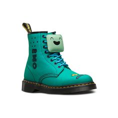 Dr. Martens Canvas Bmo Castel Ankle Boots (€125) ❤ liked on Polyvore featuring shoes, boots, ankle booties, turquoise, ankle bootie boots, canvas ankle boots, dr. martens, multi colored boots and embroidered boots