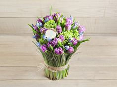 Bouquet: Bergrass, Tulips, Muscari, Viburnum