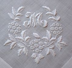 Em Corazón Antique Linens-Antique Linen monograma bordado pañuelo italiano