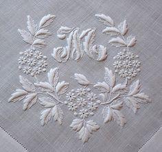 Em Corazón Antique Linens-Antique Linen monograma bordado pañuelo italiano