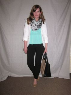 Spring Transition: A Mint Peplum Top, White Blazer, Cropped Black Pants, Geometric Print Scarf, and a Large Tote