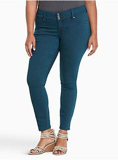 """<div>Our jegging fit + a pop of color = obsessed. The same slim fit from hip to ankle, the same tummy-smoothing three-button higher rise waist, the same comfy stretch. Mix in a bold dark teal wash that'll brighten any outfit? Total game-changer.</div><div><ul><li style=""""LIST-STYLE-POSITION: outside !important; LIST-STYLE-TYPE: disc !important"""">Higher-rise</li><li style=""""LIST-STYLE-POSITION: outside !important; LIST-STYLE-TYPE: disc !important"""">Size 18: 11"""" leg opening</li><li style=""""LI..."""