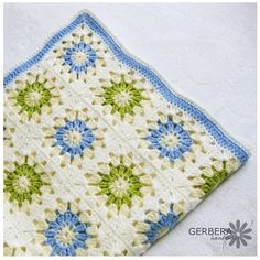 Crocheted baby afghan Blanket granny squares green blue and white Choose your color