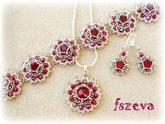 fszevagyöngy. Pendant, earrings and bracelet set. Silver and red