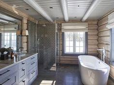 Bathroom shower tile white ceilings new Ideas White Tile Shower, White Interior Design, Bathroom Interior Design, Rustic House, House Bathroom, Cabin Bathrooms, Log Cabin Bathrooms, Cottage Interiors, Log Cabin Interior
