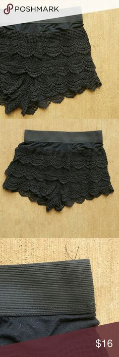 BOUTIQUE shorts Black lace tiered shorts. Elastic waistband. Pull on. Lace tiers. Nice amount of stretch to them overall. Washed and wore them quite a few times but in great conditon. 55% cotton 45% polyester. Boutique Shorts