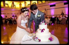 Soldiers & Sailors Memorial Hall & Museum | Auditorium Wedding Ceremony | Pittsburgh | Jillian & Zach | Cake Cutting | Grand Ballroom | Wedding Reception | Pink and purple wedding | Gray Phoenix Design Lighting | Studio Bash Photography