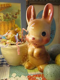 Vintage Bunny Planter by VandyleeVintage on Etsy, $21.99