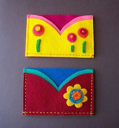 Felt Business card holders in with abstract flowers and embroidery.