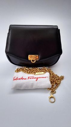 099a1c1dada SALVATORE FERRAGAMO Vintage Black Leather Shoulder Handbag   Clutch Bum bag  with Detachable Chain Strap. Italian designer purse