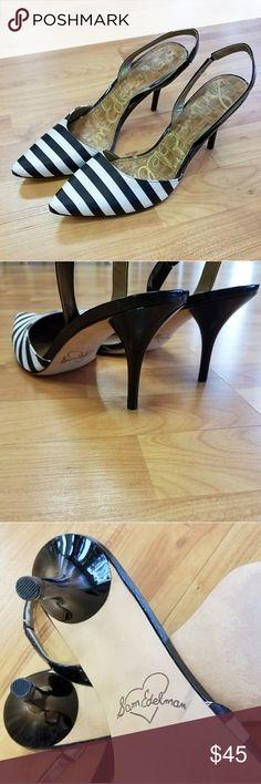 "EUC Sam Edelman Striped Heels GORGEOUS Sam Edelman Black & White Striped Slingback Heels. Worn only ONCE, show no signs of wear. 3"" in heel. Size 10 Sam Edelman Shoes"