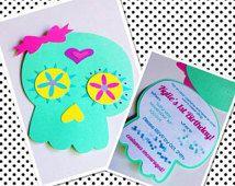 Invitaciones de Dia De Los Muertos - día de los muertos - tarjeta en blanco - gracias tarjeta - cráneo del azúcar - cumpleaños - Custom orden disponible - 10/paquete