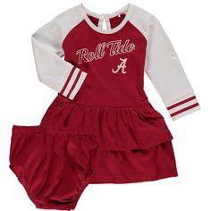 Alabama Crimson Tide Girl's Infant Kacey Raglan Ruffle Long Sleeve Dress - Crimson
