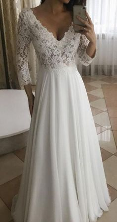 Elegant A Line V Neck Long Sleeves White Lace Long Wedding Dresses Simple wedding gowns Top Wedding Dresses, Wedding Dress Trends, Wedding Ideas, Gown Wedding, Modest Wedding, Long Sleeved Wedding Dresses, Bridesmaid Dresses, Wedding Ceremony, Backless Wedding