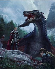 A Betrayer and her dragon after a battle Fantasy Creatures, Mythical Creatures, Big Dragon, Dragon Book, Dragon King, Green Dragon, Art Central, Dragon Artwork, Nerd Art