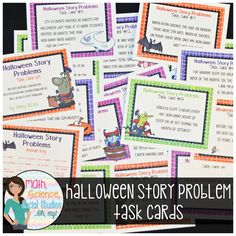 Halloween Story Problems Task Cards - SCOOT.  Includes 16 task cards where your students will read word problems and figure out which of the following operations to use: addition, subtraction, multiplication and division. Does include some problems that are multi-step. Halloween Stories, Math Task Cards, Halloween This Year, Multiplication And Division, Early Finishers, Picture Cards, Word Problems, Cover Pages, Literature