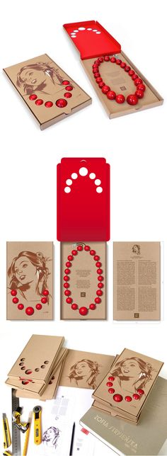Małopolska's Red Corals box by Studio Otwarte Necklace Packaging, Box Packaging, Craft Packaging, Jewelry Packaging, Retail Packaging, Advertising Design, Packaging Design Inspiration, Graphic Design Illustration, Jewelry Design