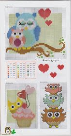 Owl cross stitch free pattern♥