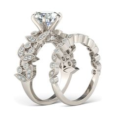 Round Cut 1.9CT Created White Sapphire Rhodium Plated 925 Sterling Silver Women's Wedding Ring Set/Engagement Ring