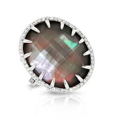 Phillips House Diamond and Black Mother of Pearl Triplet Ring at London Jewelers!