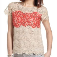 Anthropologie lace blouse Anthropologie sheer lace blouse by Porcelain. Coral and tan. Size small. Brand new with tags. Anthropologie Tops Blouses