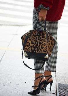 Length and pattern of the pants are perfect with heels. Oversized sweater.