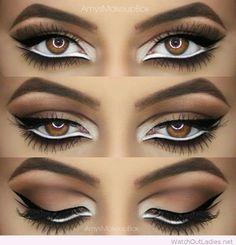 Brown, white and black eye makeup