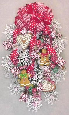 Gingerbread Christmas cookies swag candy snowflakes peppermints ribbon door decoration