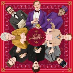 AVAILABLE ON SOCIETY6  Movie Poster : The Grand Budapest Hotel illustration by Kitty Rouge (Red Version)   Directed by Wes Anderson ; starring Ralph Fiennes, Adrien Brody, Tilda Swinton, Edward Norton, Willem Dafoe, Tony Revolori, Saoirse Ronan &  Jeff Goldblum