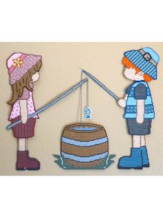 Plastic Canvas - Let's Go Fishing Wall Decor - #REP0209