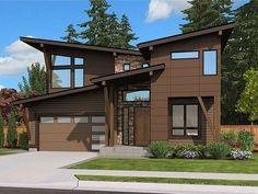 035H-0134: Unique Modern House Plan; 4 Bedrooms & 3 Baths
