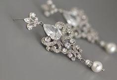 Crystal & Swarovski Pearl Bridal Earrings JamJewels www.etsy.com/listing/226168370