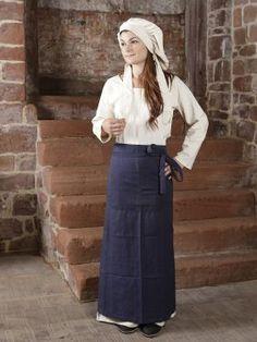 Gewandung für die Marktfrau - Zünftige Bekleidung für die Marktfrau. Ein Baumwollkleid mit Schürze und Haube. Das Kleid und die Haube sind aus naturfarbenem, robustem Stoff, die Schürze ist in der Far...