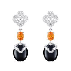 Louis Vuitton Blossom pendant earrings with mandarin garnets, onyx and diamonds High Jewelry, Luxury Jewelry, Jewelry Accessories, Jewelry Design, Jewellery, Louis Vuitton Schmuck, Louis Vuitton Jewelry, Pendant Earrings, Diamond Earrings