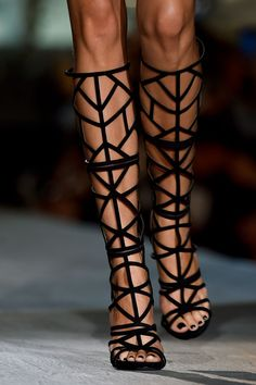 Cage boots on the Dsquared² runway at Milan Fashion Week.