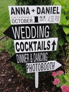 Directional arrow sign, designed to match the Wedding Invitation
