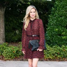 Burgundy,floral, high-neck dress from @forever21 on adaydreamlove.com! #ootd #newpost #ontheblog
